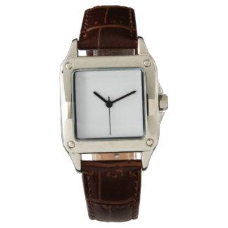 Das perfekte Quadrat-Brown-Lederband-Uhr der Handuhr
