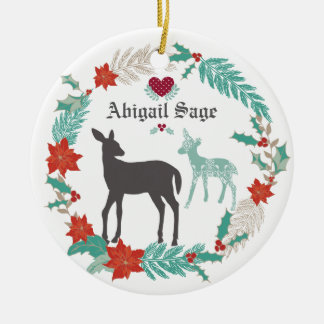 Das personalisierte 1. Weihnachten des Rotwild-und Keramik Ornament
