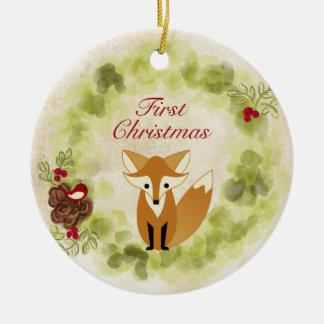 Das personalisierte erste Weihnachten Fox- und Keramik Ornament