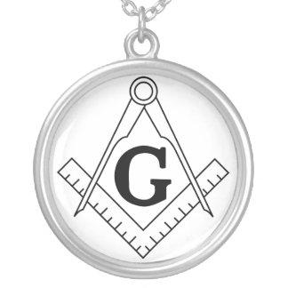 Das Quadrat und das Kompass-Freimaurerei-Symbol Halskette Mit Rundem Anhänger