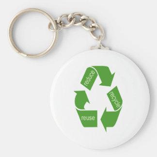 Das Recyceln recyceln Iconic Grün Standard Runder Schlüsselanhänger