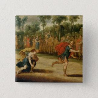 Das Rennen von Atalanta und von Hippomenes (Öl auf Quadratischer Button 5,1 Cm