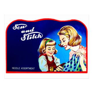 Das Retro Vintage Kitsch-Nähen nähen u. Stich Postkarte