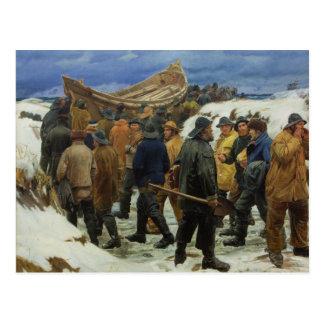 Das Rettungsboot wird durch die Dünen durch Ancher Postkarte