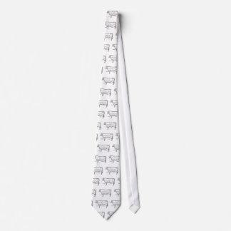 Das Rindfleisch des Metzgers schneidet Diagramm, Krawatte