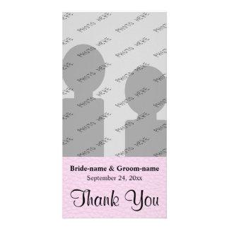 Das rosa Bild des Leders, Wedding danken Ihnen Foto Karten Vorlage