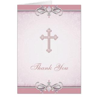 Das rosa christliche Rosen-Damast-Kreuz danken Karte