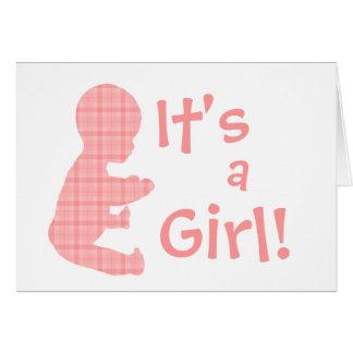 Das rosa karierte Baby-Mädchen, ist es ein Karte
