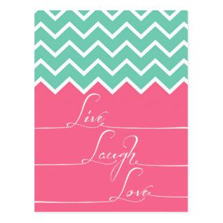Das Rosa und Grün/Zickzack sind, leben, laught, Postkarte