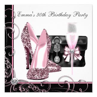 Das rosa und schwarze Geburtstags-Party der Frau Quadratische 13,3 Cm Einladungskarte