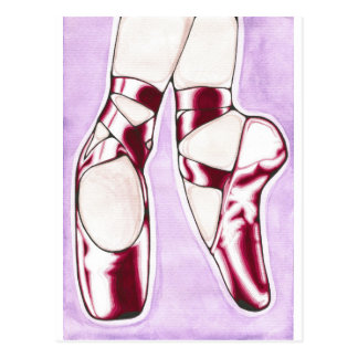 Das Rot beschuht Balletpantoffel Postkarte