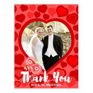 Das rote geformte Herz danken Ihnen Fotorahmen Postkarte