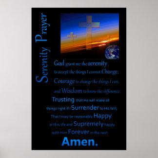 Das Ruhe-Gebet im Raum-Blau Poster