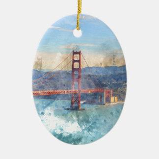 Das San Francisco Golden gate bridge in Keramik Ornament
