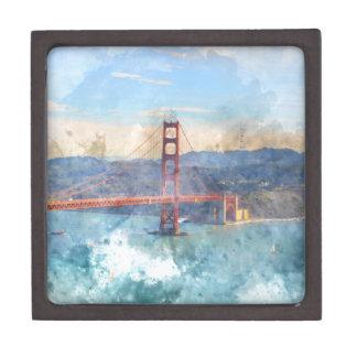 Das San Francisco Golden gate bridge in Schachtel
