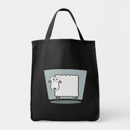 DAS Schaf zum Quadrat Leinentaschen