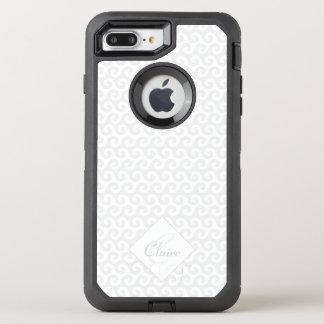 Das schicke Monogramm des Mädchens, Silber u. OtterBox Defender iPhone 8 Plus/7 Plus Hülle
