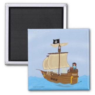 Das Schiff mit Piraten-Magneten Quadratischer Magnet