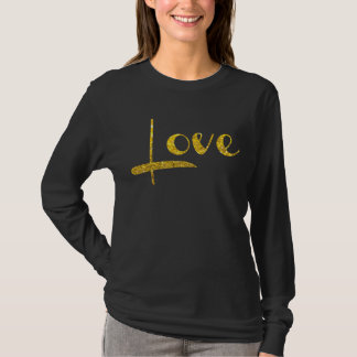 Das Schwarze *~* Frau und Goldfunkeln LIEBE T-Shirt