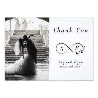Das schwarze Hochzeits-Foto u. das Weiß dankt Karte