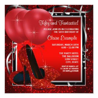 Das schwarze und rote hohe Heels-Geburtstags-Party Personalisierte Ankündigungskarten