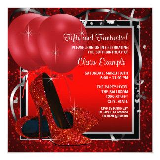 Das schwarze und rote hohe Heels-Geburtstags-Party Quadratische 13,3 Cm Einladungskarte