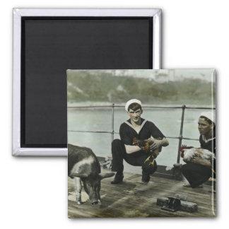 Das Seemann-Hahn-Schwein der Maskottchen-Vintage Quadratischer Magnet