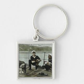 Das Seemann-Hahn-Schwein der Maskottchen-Vintage Schlüsselanhänger