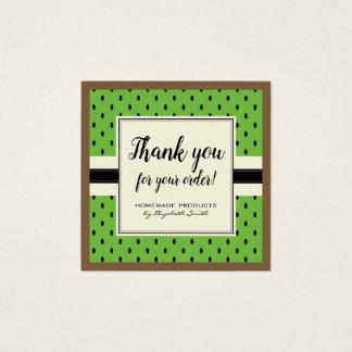 Das selbst gemachte Kiwimuster danken Ihnen zu Quadratische Visitenkarte