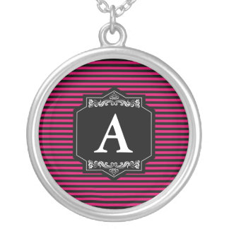 Das Silber badet Rundes Halsband Streifen Pink Versilberte Kette