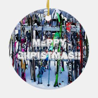 Das Ski-Party - Skis und Polen Keramik Ornament