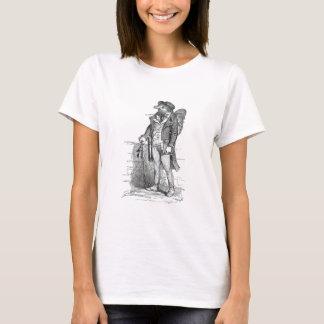 Das Spatzen-Blätter auf seinem T-Shirt