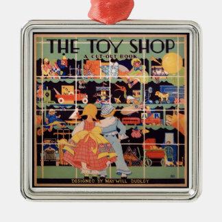 Das Spielzeug-Geschäft || 1935 Vintage Silbernes Ornament