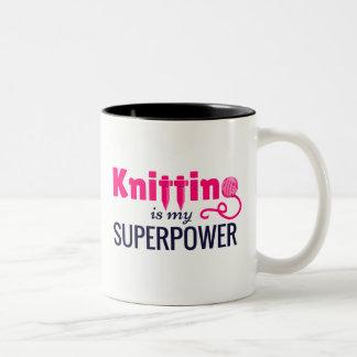 Das Stricken ist meine Supermacht im Rosa Zweifarbige Tasse