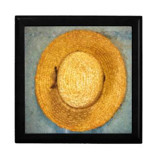 Das Stroh des Mannes, das Hut bewirtschaftet Erinnerungskiste