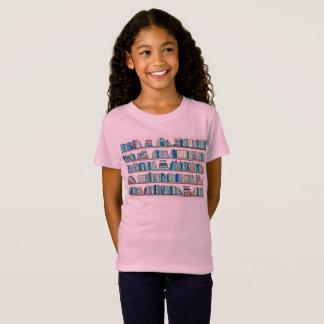 Das T-Stück der blauen Bibliotheks-Mädchen T-Shirt