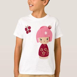 Das T-Stück der rosa Kokeshi Dreiergruppe-Kinder T-Shirt