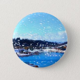 Das Tal in Winter 1 Runder Button 5,1 Cm