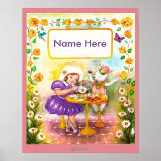 Das Tee-Party Watercolor-Kinderzimmerplakat Poster