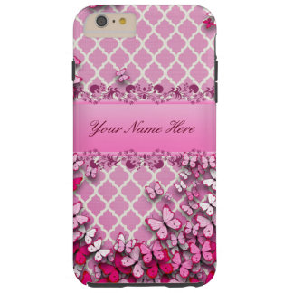 Das Telefon-Kasten des rosa Schmetterlinges Tough iPhone 6 Plus Hülle