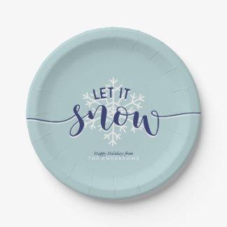 """Das Themed Weihnachten """"ließ es schneien """" Pappteller"""