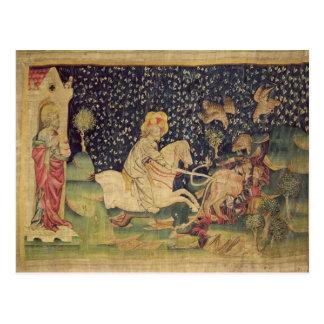 Das Tier wird in den See des Schwefels geworfen Postkarte