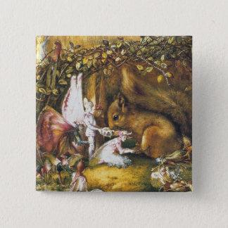 Das verletzte Eichhörnchen Quadratischer Button 5,1 Cm