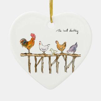 Das verlorene Entlein, die Hühner und das Entlein Keramik Herz-Ornament