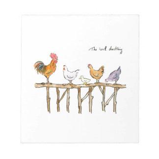 Das verlorene Entlein, die Hühner und das Entlein Notizblock