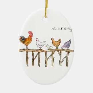 Das verlorene Entlein, die Hühner und das Entlein Ovales Keramik Ornament