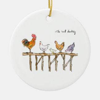 Das verlorene Entlein, die Hühner und das Entlein Rundes Keramik Ornament