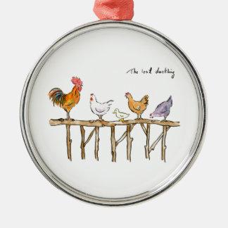 Das verlorene Entlein, die Hühner und das Entlein Rundes Silberfarbenes Ornament