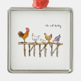 Das verlorene Entlein, die Hühner und das Entlein Silbernes Ornament