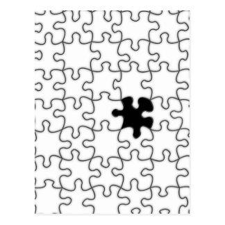 Das vermisste Puzzlespiel-Stück-Muster Postkarte